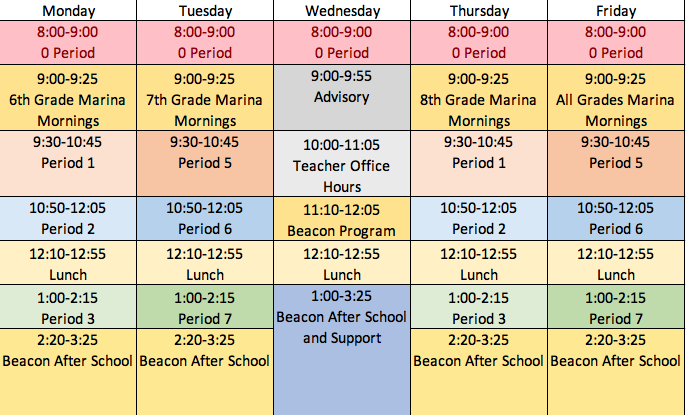 Marina MS Distance Learning Schedule