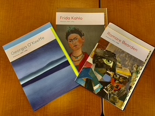 Books about Georgia O'Keeffe, Frida Kahlo, and Romare Bearden