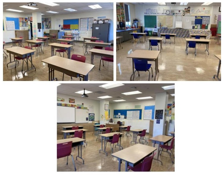 Pictures of classroom setups for return to in-person learning