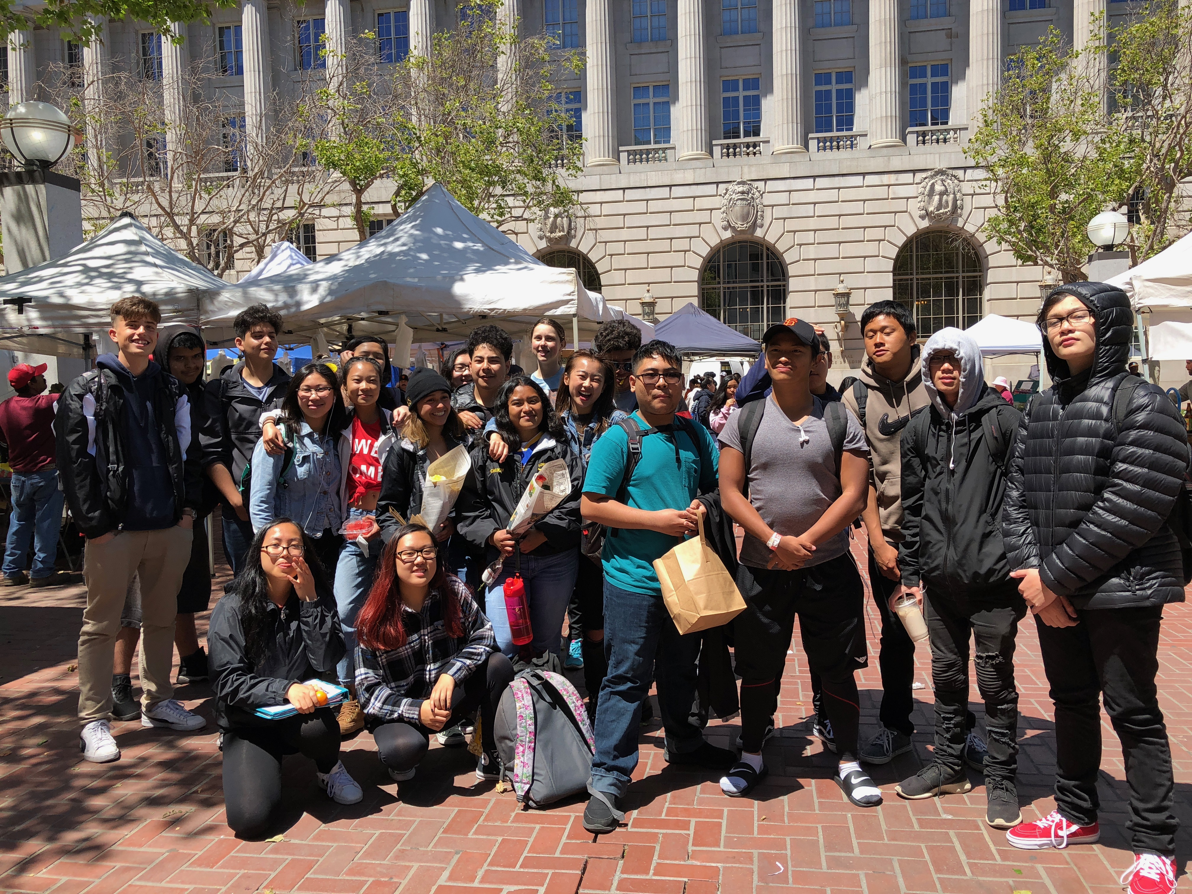 Green Academy students at the SF farmers market