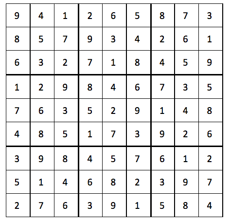 Answers to last Sudoku