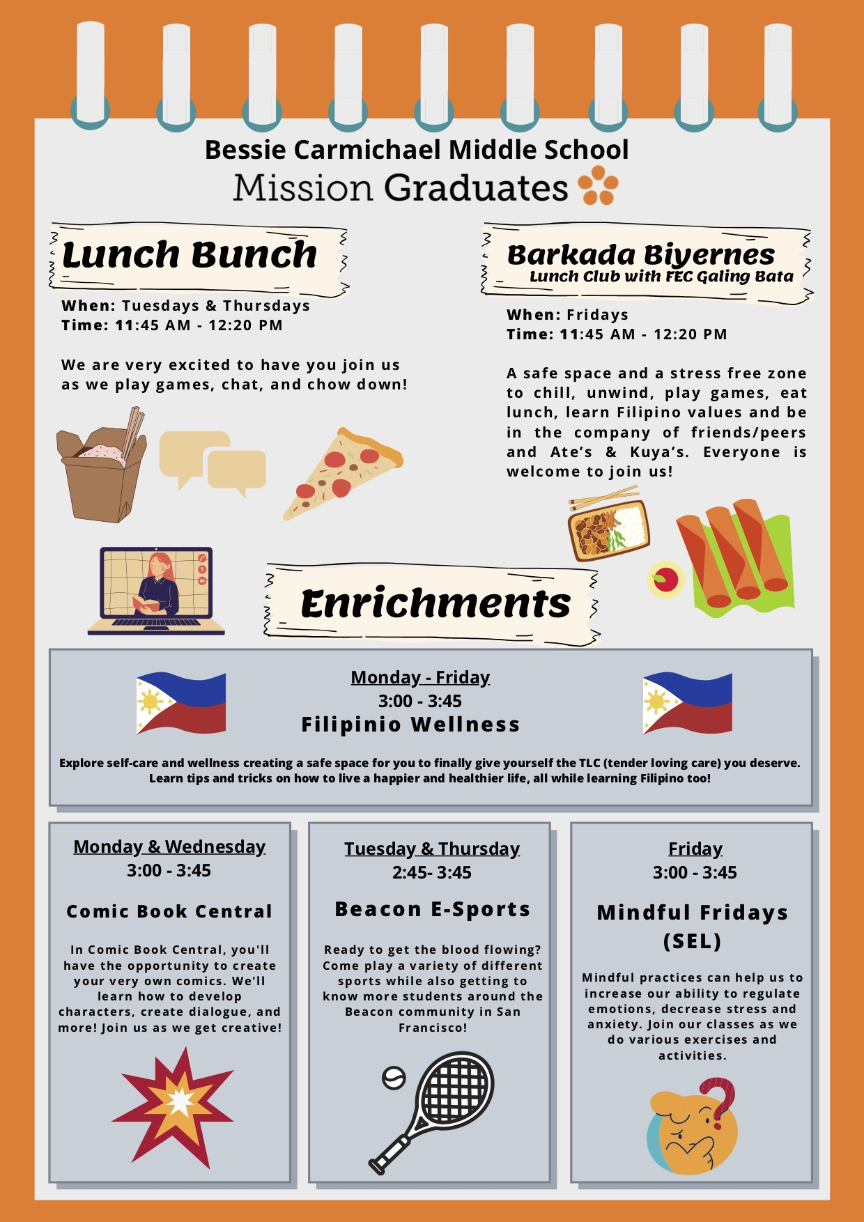 Flyer with lunch club information