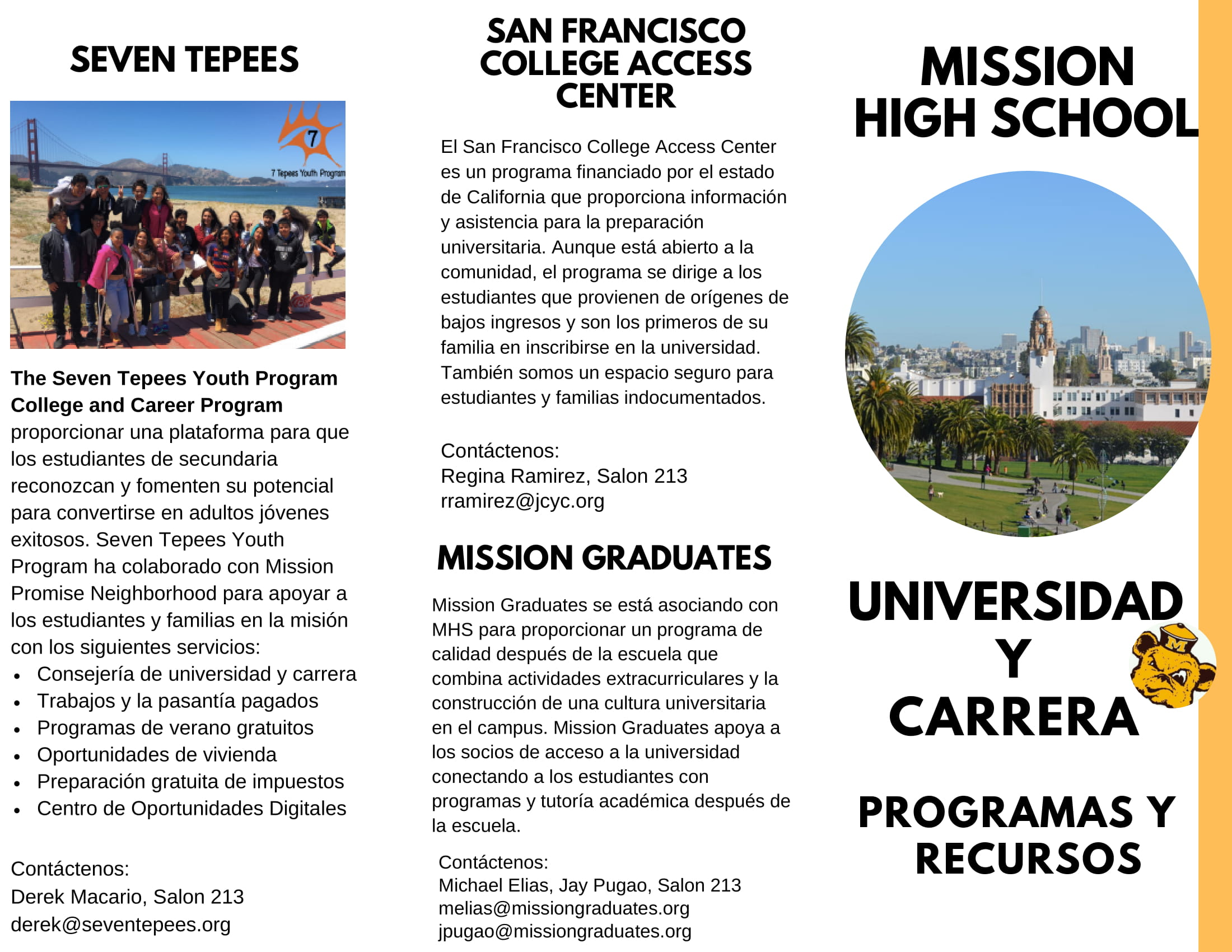 College and career team brochure spanish page 1