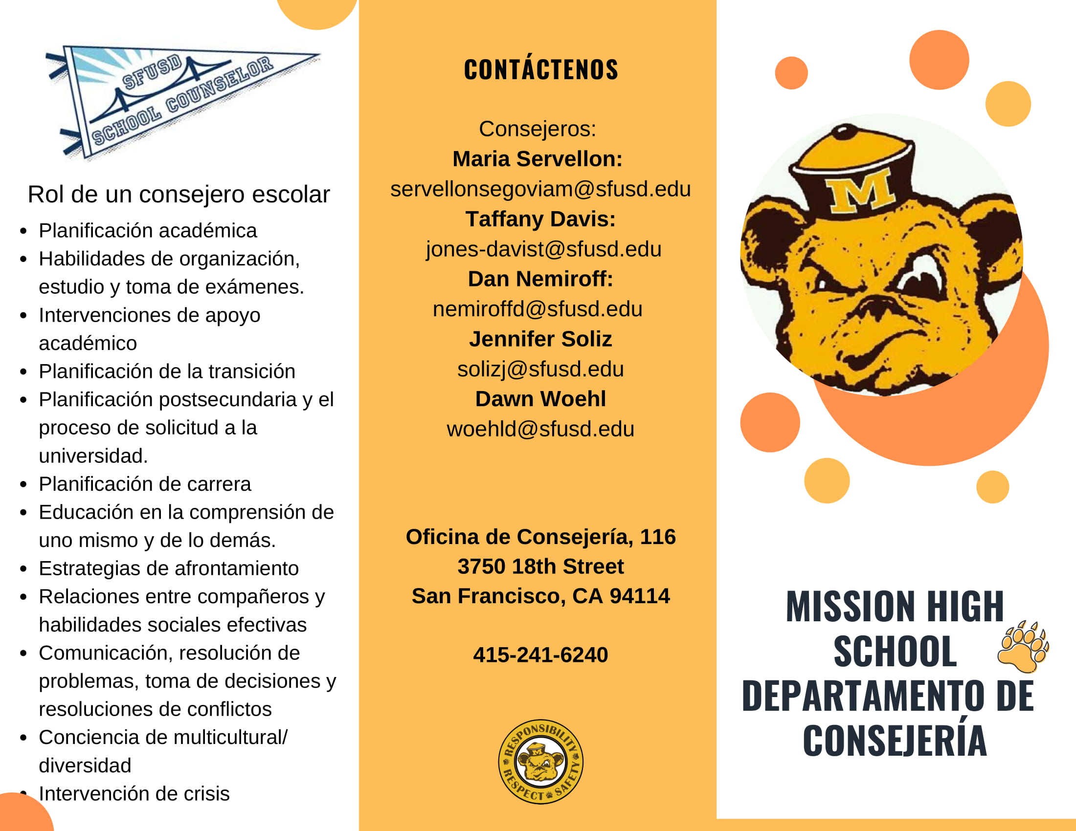 counseling department brochure spanish page 1