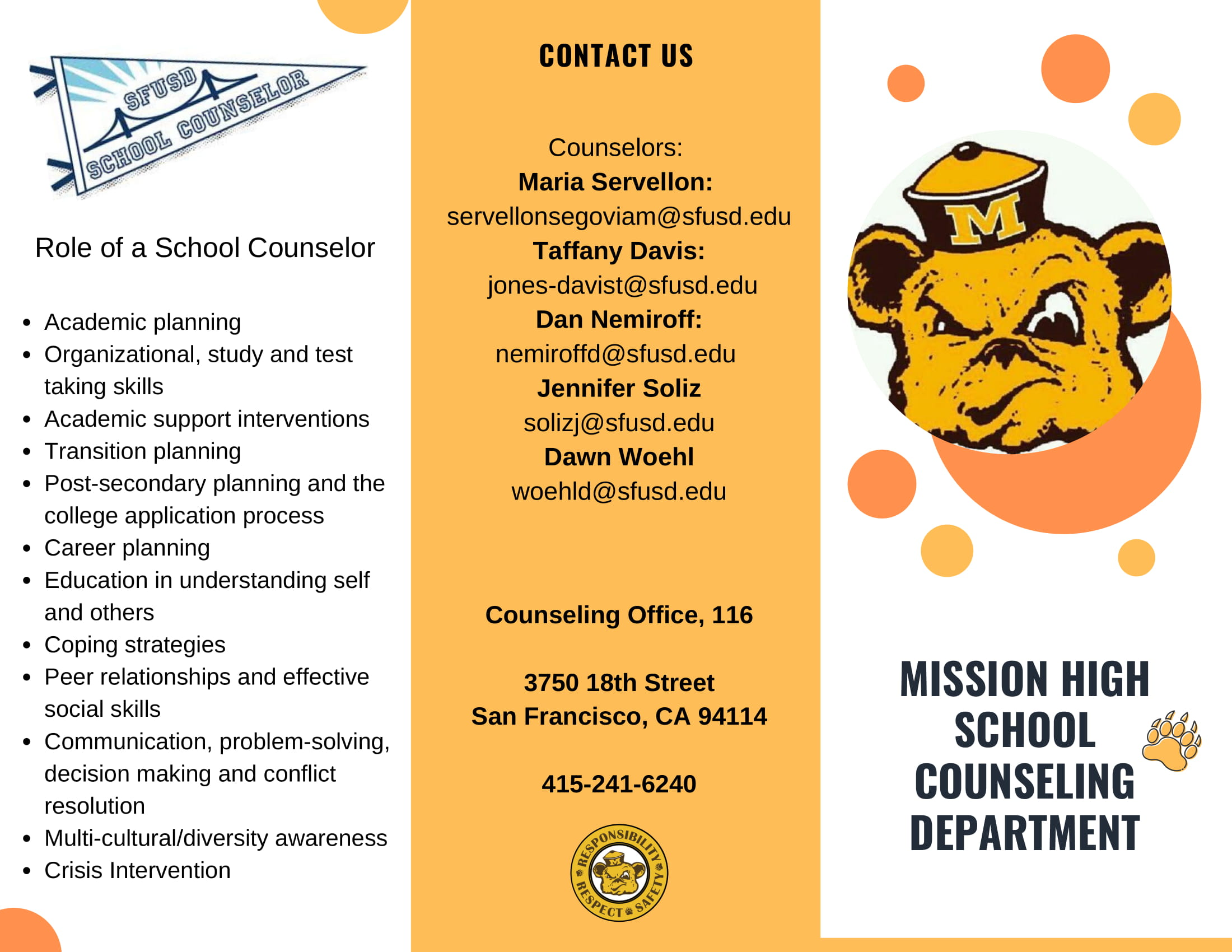 Counseling department brochure page 1