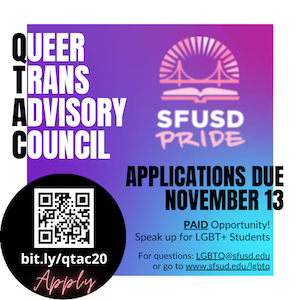 Recruiting LGBTQ+ Student Leaders for the Queer Trans Advisory Council