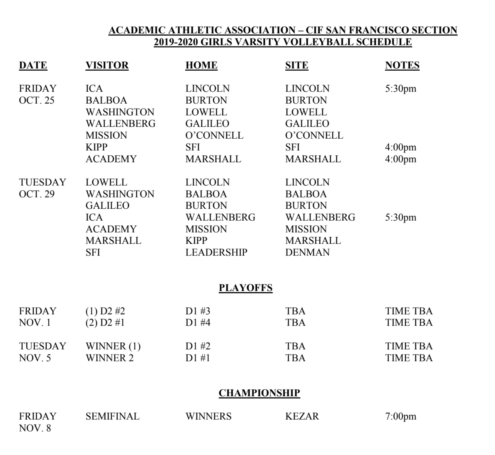 Girls Varsity Volleyball Fall Schedule
