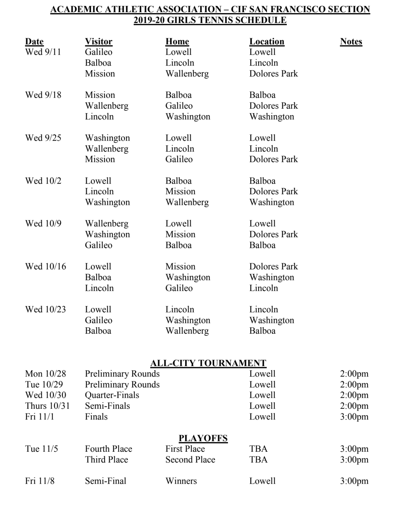 Girls Varsity Tennis Schedule