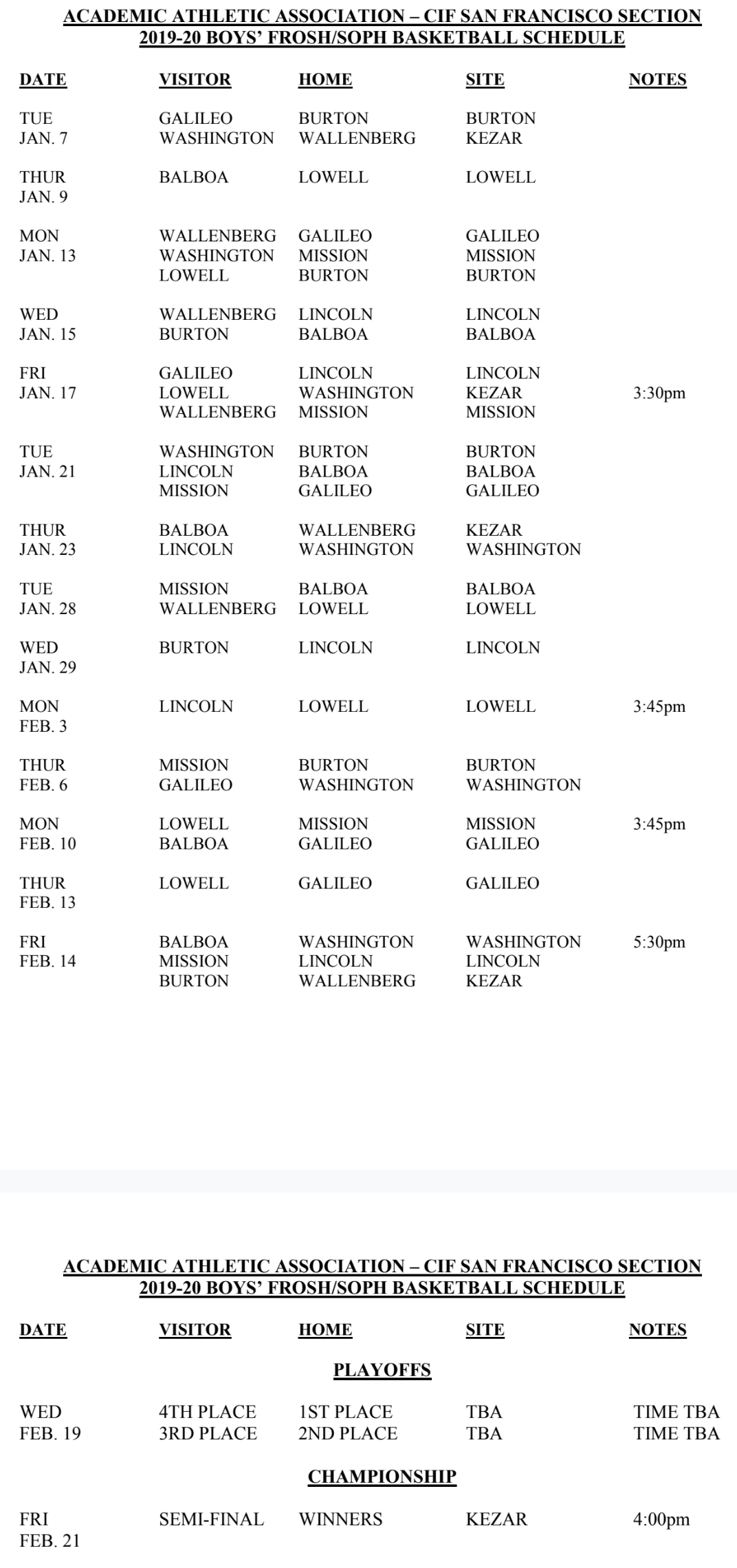 FS Boys Basketball Schedule