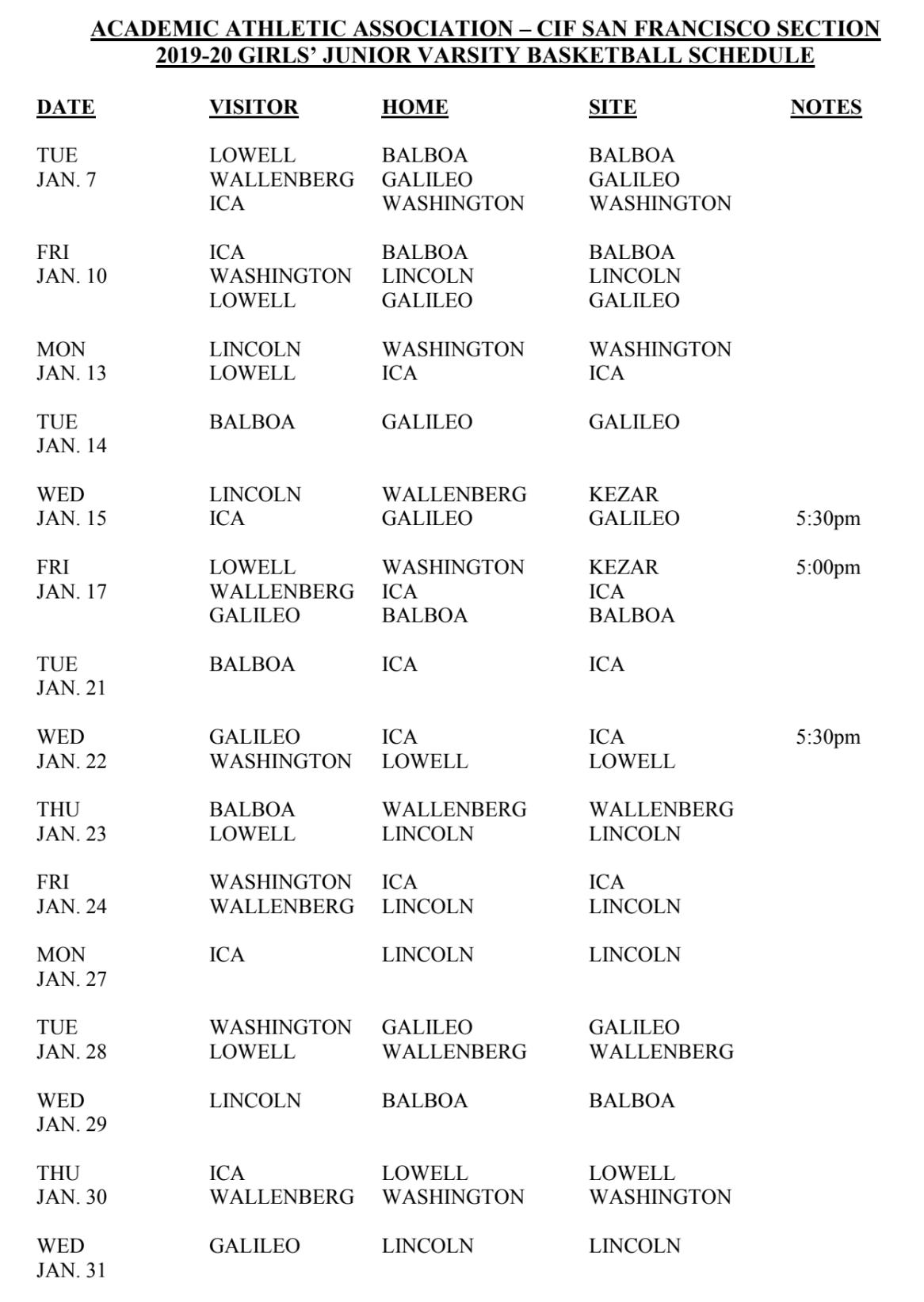 Girls JV Basketball Schedule