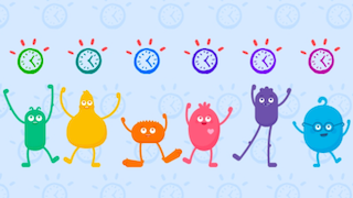 Common Sense Media colorful digital citizens: green Arms, yellow Guts character, orange Feet character, pink Heart character, purple Legs character, and blue Head character, all excitedly standing with arms up in the air.