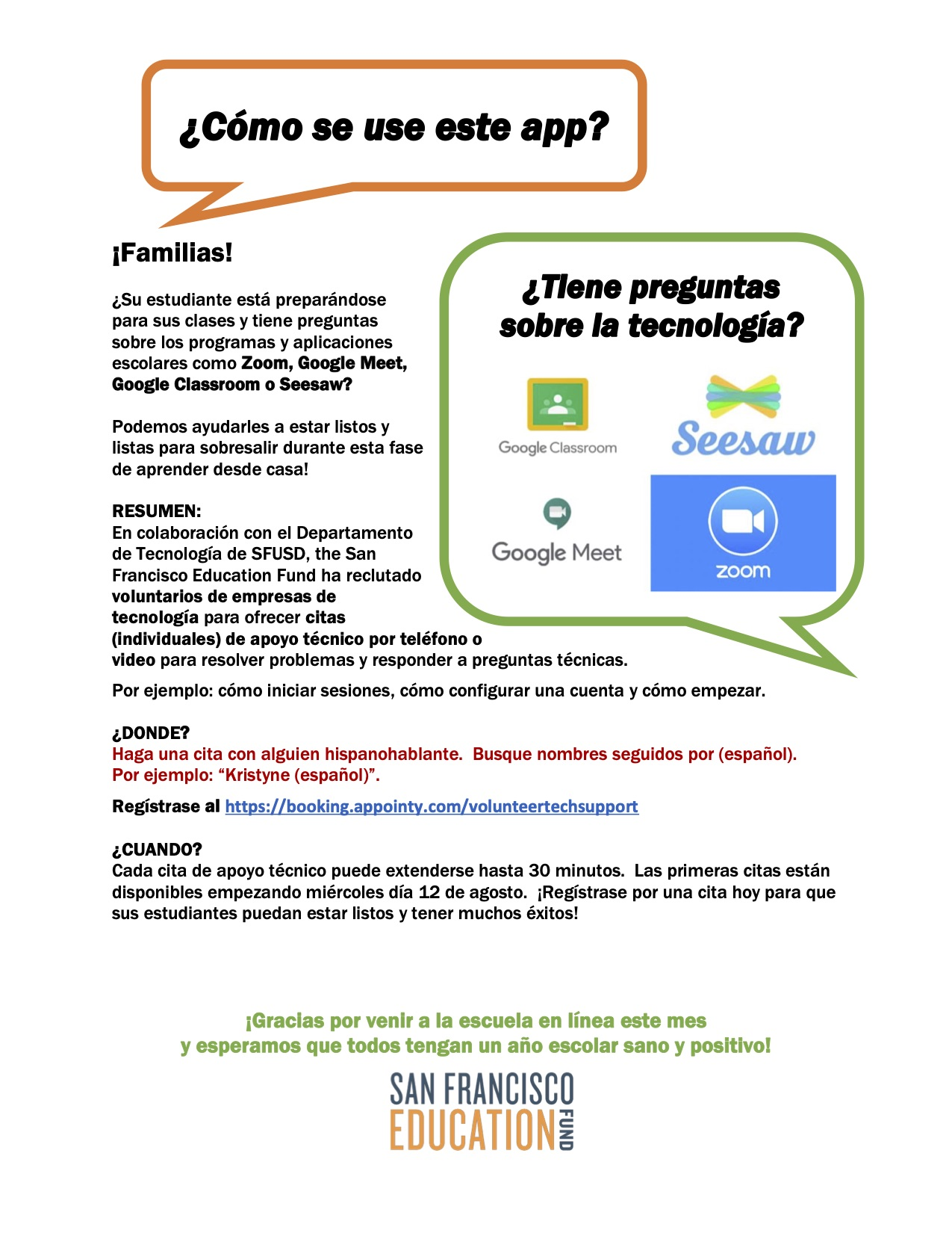 a flyer with a white background detailing information about tech support in Spanish from Salesforce