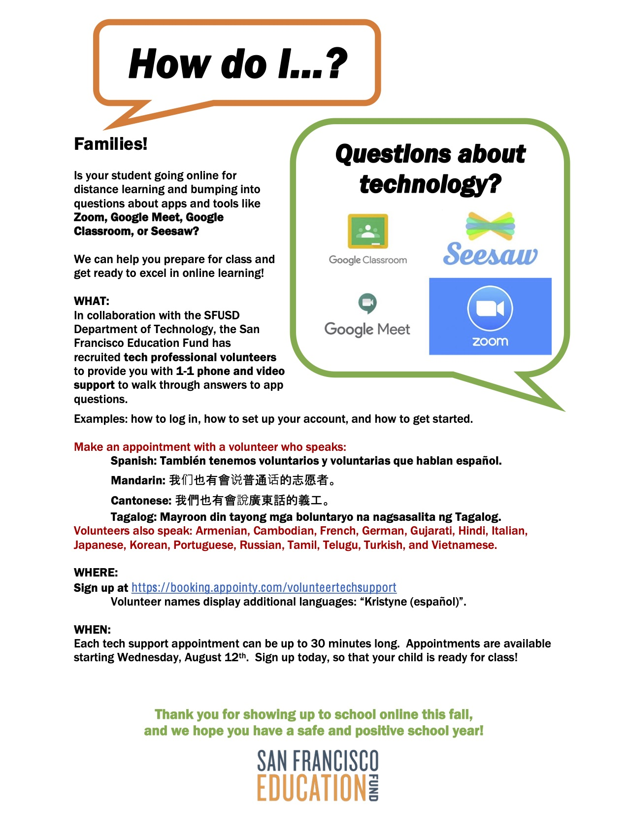 a flyer with a white background detailing information about tech support from Salesforce