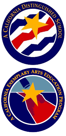 A California Distinguished School and A California Exemplary Arts Education Program Badges
