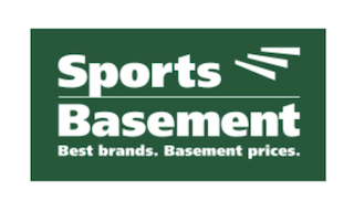 Sports basement logo of green rectangle with white sports basement words
