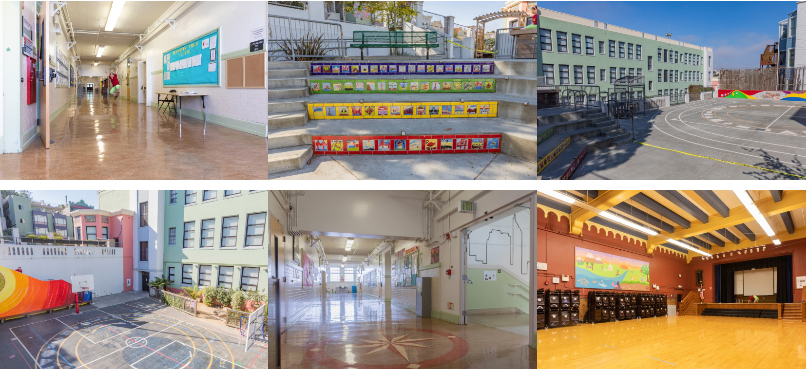 Chinese Immersion School group images of school site including yards, classrooms and auditorium