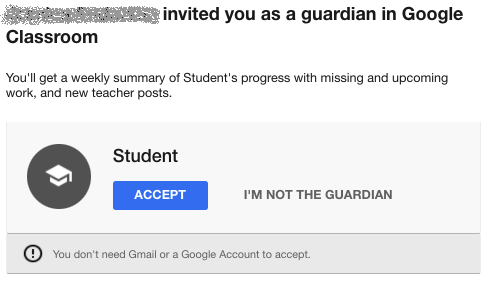 Google Classroom guardian email summaries invite email