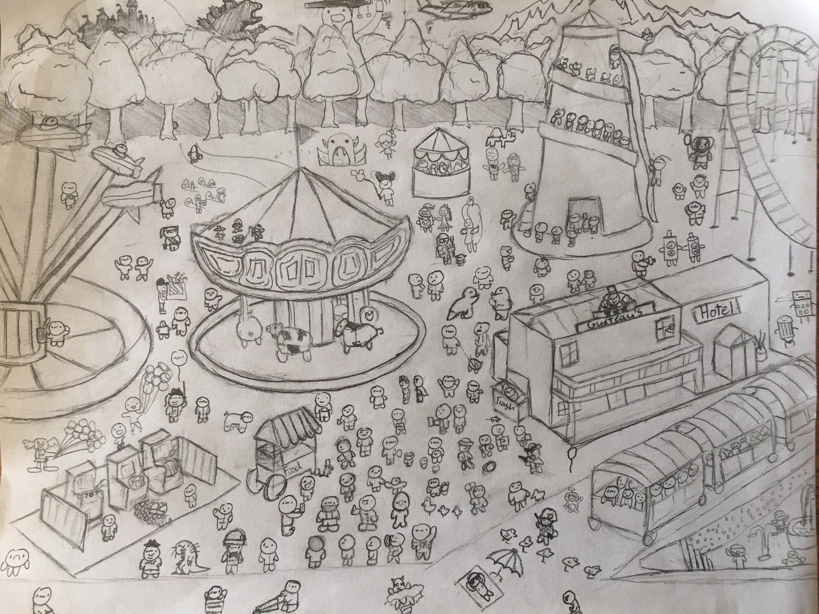 Drawing of a festival