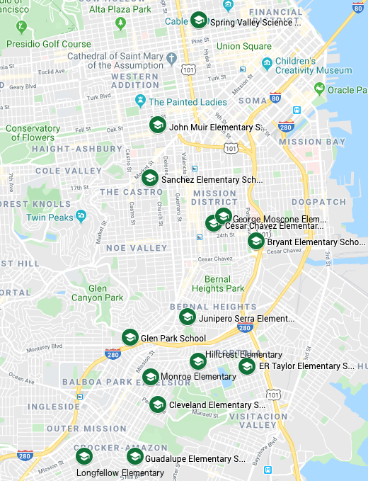 Map of SFUSD schools with Spanish K-5 Biliteracy Programs