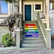 Steps painted like book spines