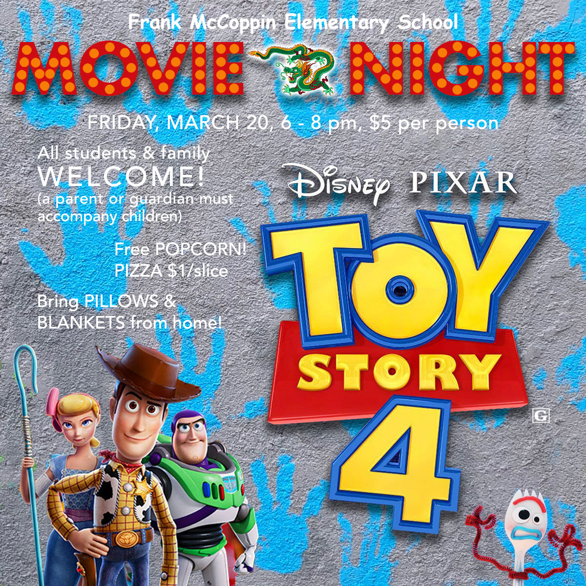 Movie night, featuring Toy Story 4, on 3/20/20