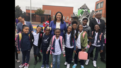 Mayor London Breed with Starr King students on the first day of school,  2019-2020