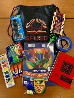 Art supply kit featuring SFUSD tote bag
