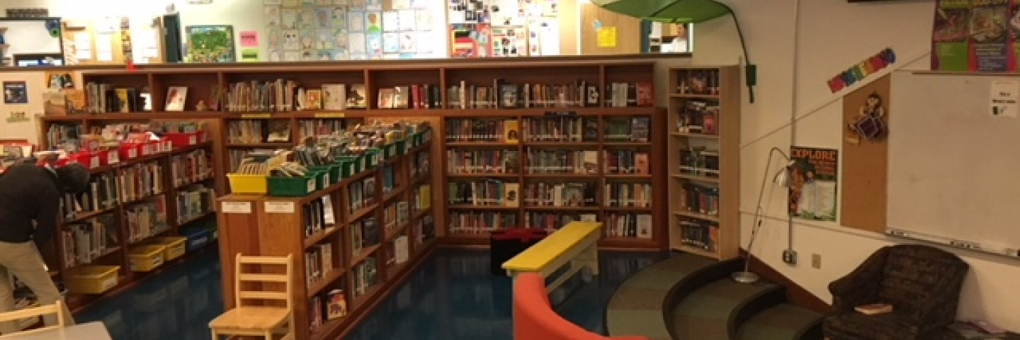 Shelves of books and couch in McKinley Library