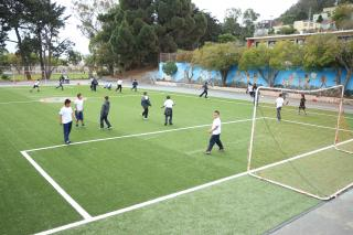Bret Harte Elementary School students playing on soccer field
