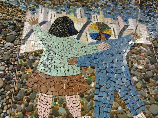 Mosaic of two children