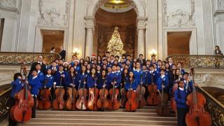 Giannini school orchestra at City Hall