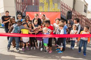 Drew Elementary School students at a ribbon-cutting ceremony