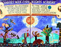 Harvey Milk Civil Rights Academy school pledge mural
