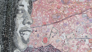 Mosaic of smiling girl and abstract art at Ida B. Wells High School
