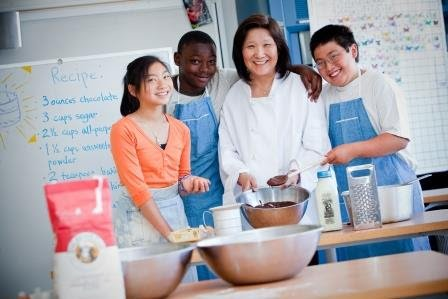 Teacher cooking with students
