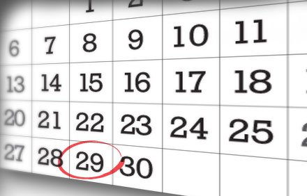 Calendar dates with one circled in red
