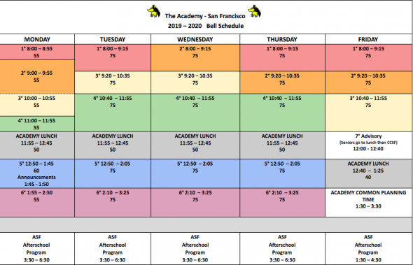 Sfusd Winter Break 2020.Bell Schedules Sfusd