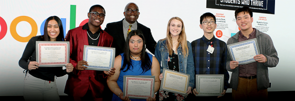 Superintendent Matthews with the six 2019 Superintendent's 21st Century Award winners