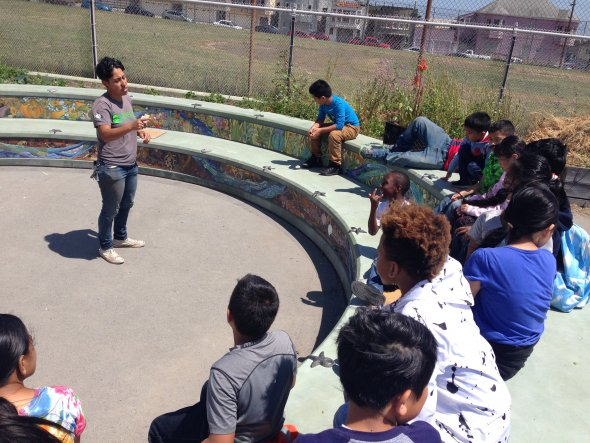 outdoor education lesson in VVES garden