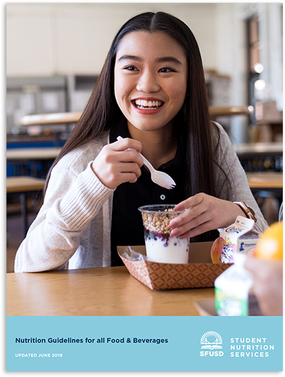 Guidelines cover image shows student eating yogurt