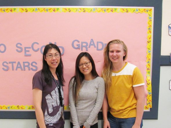The second grade teachers stands in front of the 2nd grade bulletin board. From Left to Right: Jennifer Chieng, Betty Cheung, and Erin Hamson