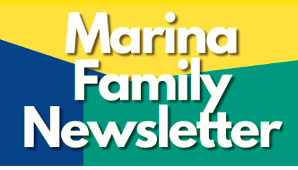 "Text reads ""Marina Family Newsletter"" over a geometric background"