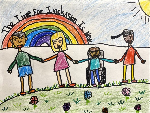 Background: a rainbow with the words The Time for Inclusion is Now. Foreground: 4 kids holding hands.
