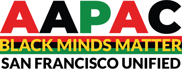 Small logo for the SFUSD African American Parent Advisory Council (Also says Black Minds Matter)