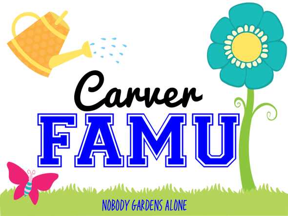 Watering Can and flower Carver Family University Logo