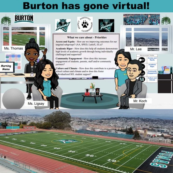 "Bitmojis & picture of football field state ""Burton has gone virtual!"""