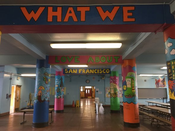 "image of school cafeteria paintings ""What we love about San Francisco"""