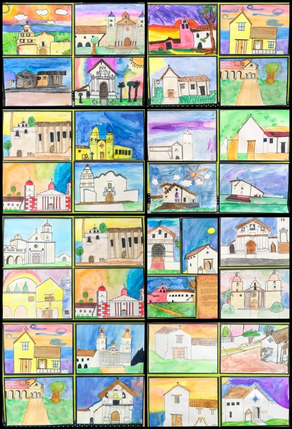 Collage of student drawings of California Missions
