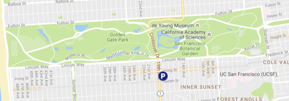 Map showing where to park at Jefferson campus for Hardly Strictly Bluegrass festival