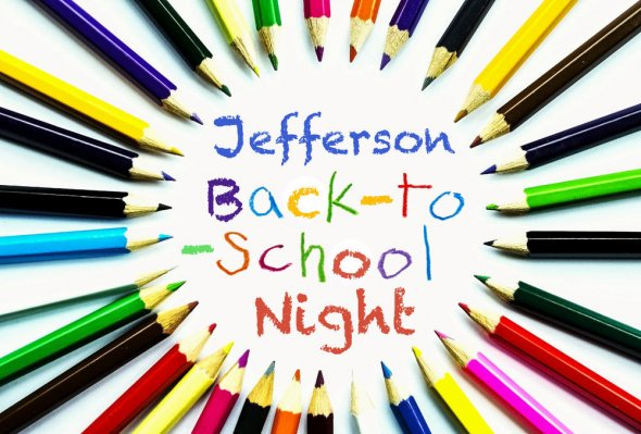 Back to school night poster featuring colored pencils